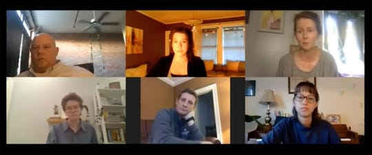 """Actors from """"The Quality of Life"""" in a virtual meeting with Cloverdale Playhouse artistic director Sarah Thornton, top center, who is directing the play."""