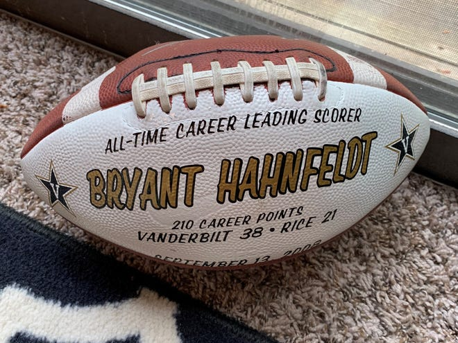 The football Bryant Hahnfeldt kicked to become the Vanderbilt Commodores all-time career leading scorer in 2008, a record that stands today