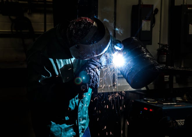 A C-TEC adult education student training to be a welder – a high-wage, high-demand job in Licking County.