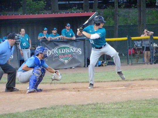 Newark Catholic graduate Ian Stacey bats for the Ohio Bison on Tuesday during a 7-5 victory against the Ohio Marlins at Don Edwards Park.