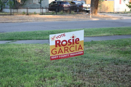 A campaign sign in an Artesia yard on June 3, 2020 shows support for Rosie Garcia Democrat for Eddy County Treasurer.