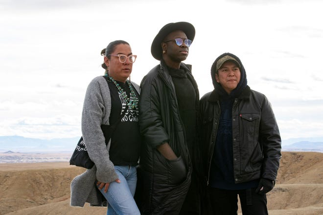 """Lady Shug, left, and Bob the Drag Queen, center, are pictured in February when the HBO series """"We're Here"""" filmed in Shiprock."""
