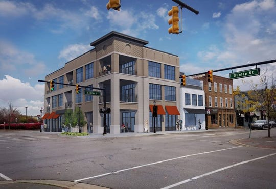 A rendering shared during the Northville Planning Commission meeting June 2 of what the proposed three-story building at North Center Street and Dunlap would look like.