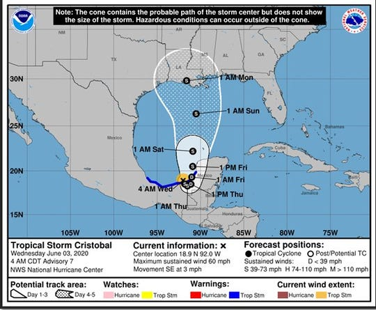 Tropical Storm Cristobal update from the National Weather Service of Mobile/Pensacola. Issued June 3, 2020 at 4:10 a.m. CT.