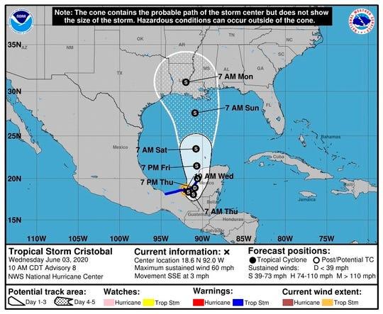 Imagen cedida por el Centro Nacional de Huracanes (NHC) donde se muestra el pronóstico de 5 días del paso de la tormenta tropical Cristóbal por el Golfo de México.