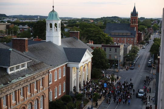 Protesters took to the streets of York for the second consecutive day on Tuesday. A large group met on Continental Square, then a smaller one moved to the York City Police Department steps after the initial event.