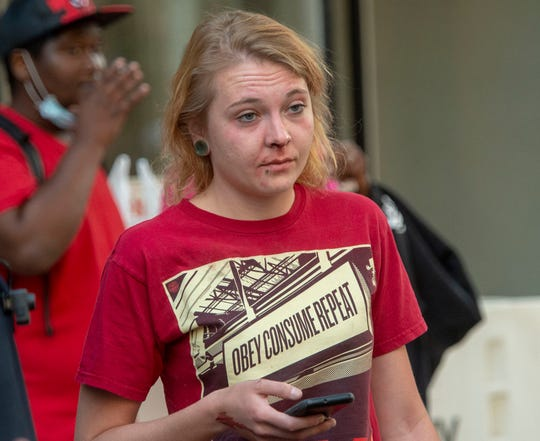 Police say this woman was assaulted and her car damaged during Monday night's protest in York.