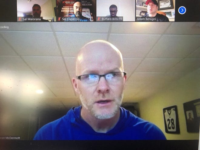 Buffalo Bills coach Sean McDermott met with reporters via Zoom on Wednesday.