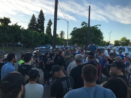 Another group gathers a few blocks away from protesters outside the Shasta County courthouse. The protesters are calling for change in the wake of the death of George Floyd, a black man, at the hands of a white Minneapolis police officer.