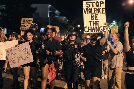 A protest took place in downtown Redding on Tuesday, June 2, 2020, for George Floyd's death at the hands of Minneapolis police.
