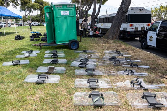 24 riot shields on the grass in Trinity park during a Black Lives Matter protest on Tuesday, June 02, 2020.