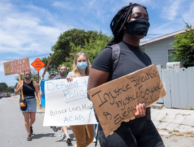 Hundreds gathered in Seaside, Calif, in solidarity during a Black Lives Matter protest on Tuesday, June 02, 2020.