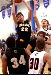 Garret Emmons (22) was a four-year standout for the Menard High School boys basketball team.