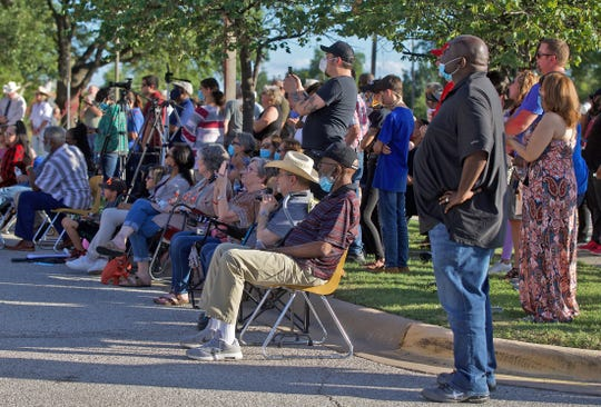 A group of approximately 100 people attend a prayer vigil hosted by the San Angelo Police Department to honor the memory of George Floyd outside police headquarters in San Angelo on Tuesday, June 2, 2020.