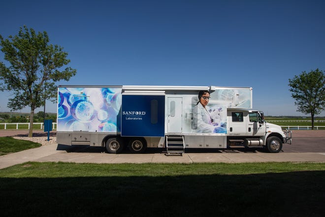 Sanford Health's new mobile testing unit outside of Sanford Research on Monday, June 1, 2020