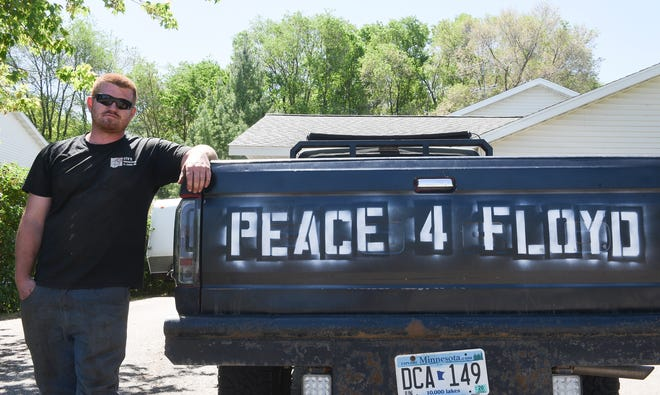 Justin Herberg stands next to his truck in Rockville Wednesday, June 3, 2020. Herberg took over 80 cases of water down to Minneapolis on Sunday to hand out to protesters.