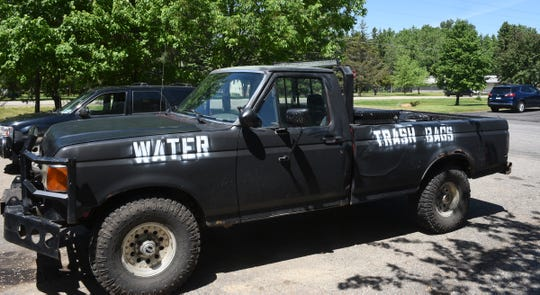 Justin Herberg's spray-painted truck sits in his driveway in Rockville Wednesday, June 3, 2020. Herberg took over $400 of supplies down to Minneapolis on Sunday to hand out to protesters.