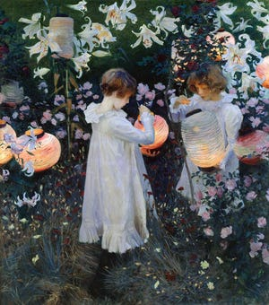 """The painting, """"Carnation, Lily, Lily, Rose,"""" is reminiscent of fireflies in the summer. Painting by John Singer Sargent, 1856-1925 (PD-US)."""