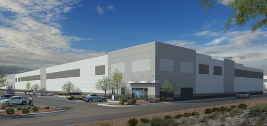 This is a rendering of one of two warehouse/distribution buildings being constructed by Hunt Southwest Real Estate Development at 12590 Rojas Drive, near Eastlake Boulevard, in far East El Paso County. This is the first El Paso project for the Dallas company owned by the multibillionaire Lamar Hunt family.