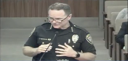A screenshot of the Oxnard City Council meeting on Tuesday shows Police Chief Scott Whitney addressing elected officials about the recent protest over the death of George Floyd.