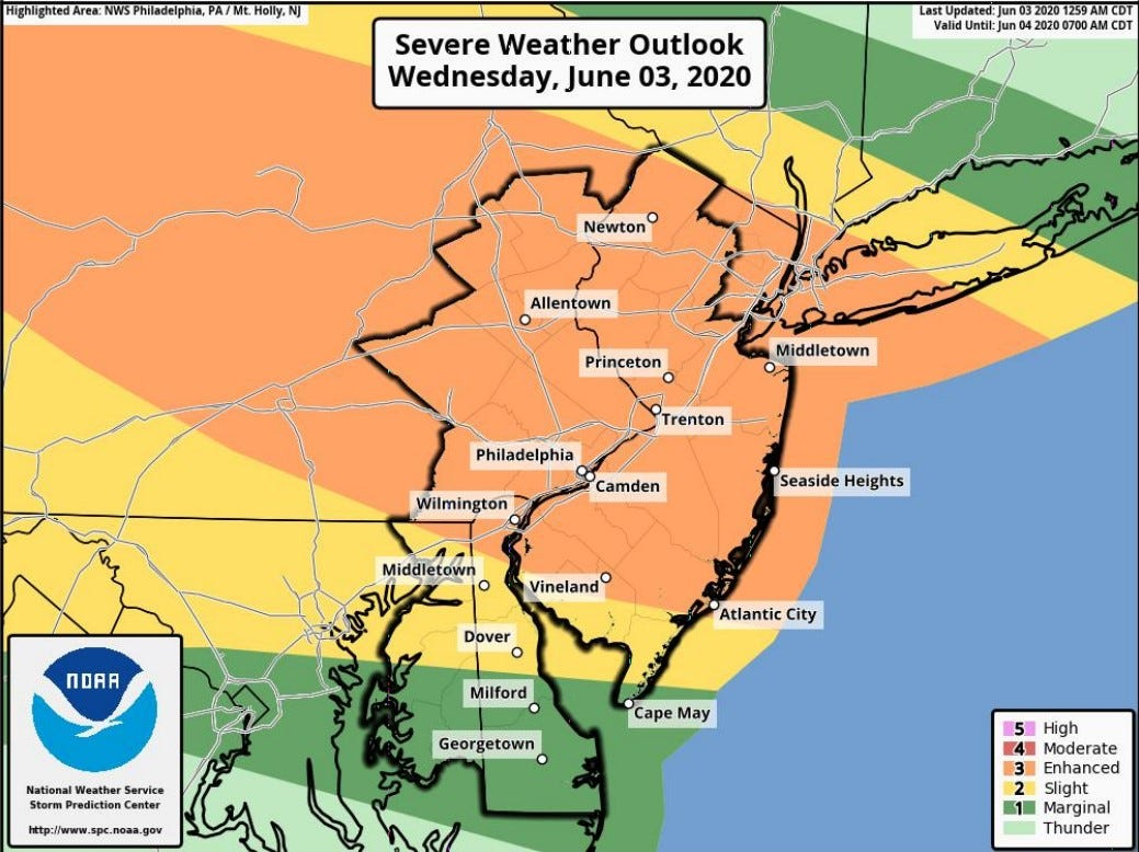 Delaware Weather Outlook Forecasts Call For Thunderstorms Showers During First Week Of June