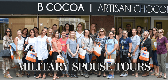 A group of military spouses is seen during a tour at B Cocoa Artisan Chocolates. The Wichita Falls Chamber received an award for workforce development for their talent partnership program which included programs geared toward military members and their families.