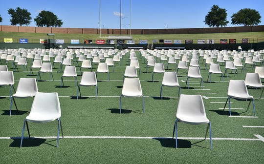 Seating for 300-plus graduating seniors is spread out across the Memorial Stadium football field to comply with social distancing requirements. Rider High, Wichita Falls High and Hirschi High School will have ceremonies Thursday, Friday and Saturday morning, respectively.