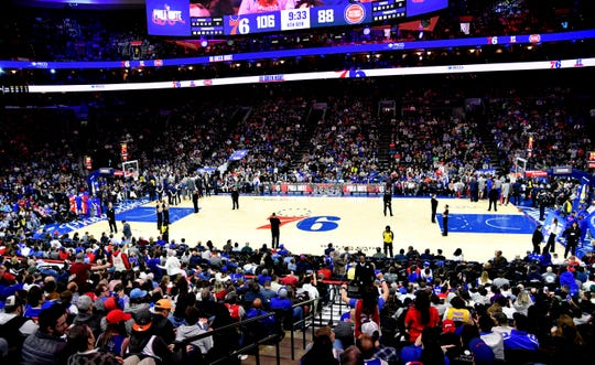 A general view of game between Philadelphia 76ers and Detroit Pistons at Wells Fargo Center.