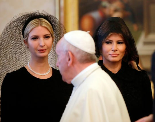 Pope Francis first lady Melania Trump (R) and Ivanka Trump at a private audience at the Vatican on May 24, 2017.