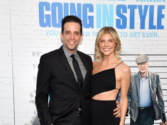 "Nick Cordero and Amanda Kloots attend the ""Going in Style"" New York premiere at SVA Theatre on March 30, 2017 in New York City."
