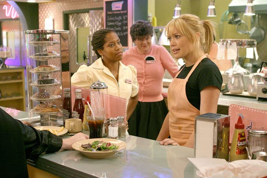 """Mary Pat Gleason, center, stars in """"A Cinderella Story"""" with Regina King, left, and Hilary Duff."""