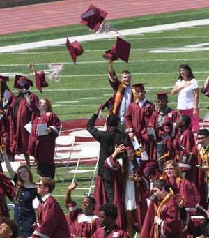 Graduates toss their caps during Westside High School commencement in Anderson, S.C. Thursday, June 4, 2020.
