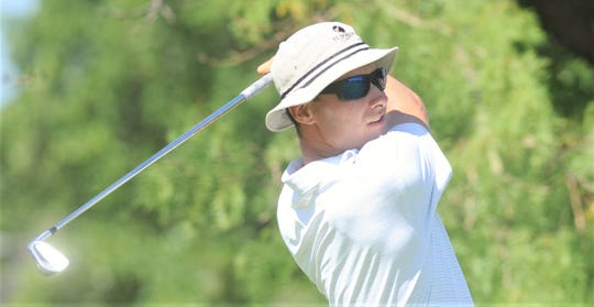 ACU's Alex Clouse, a Flower Mound native, eyes his tee shot at 11 during the final round of the West Texas Junior Open College Division on Thursday, June 4, 2020, at the Abilene Country Club South Course.