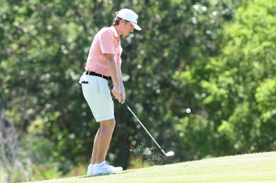 Abilene's Karson Grigsby hits a shot during the second round of the WTJCT West Texas Junior Open at the Abilene Country Club North Course on Thursday. Grigsby shot 4-under in the second round to win the Boys 15-18 title with a two-round 141.