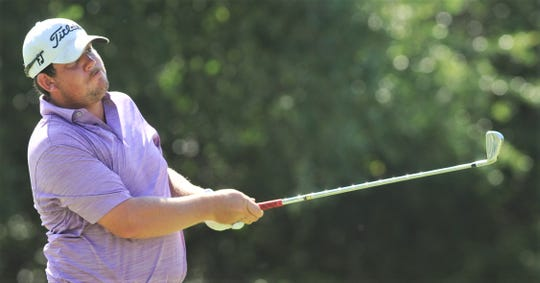 Cooper grad Riley Casey, who plays for the University of Oklahoma, watches his tee shot at hole No. 8 during the final round of the West Texas Junior Open College Division. Casey added two more WTJCT wins earlier this week in San Angelo.
