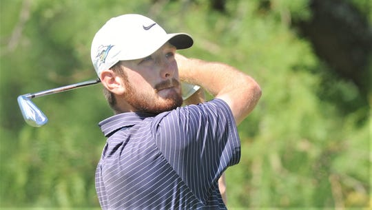 Snyder grad Jake Leatherwood watches his tee shot at 11 during the final round of the West Texas Junior Open College Division on Thursday, June 4, 2020, at the Abilene Country Club South Course.