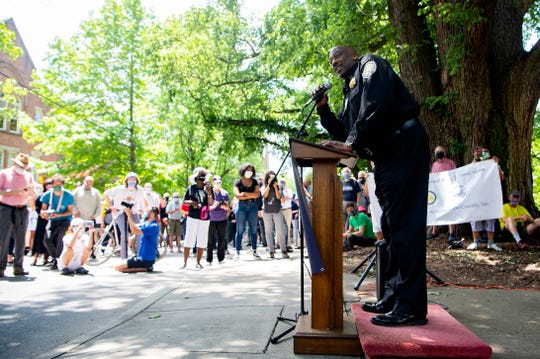 Buncombe County Sheriff Quentin Miller addresses the crowd in a gathering organized by local government and clergy leaders on Church Street on June 4, 2020. The gathering, which concluded in a peaceful march, was organized in response to the killing of George Floyd by police in Minneapolis which led to four nights of protest in Asheville.