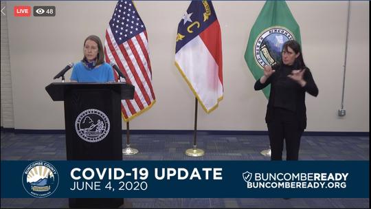 Buncombe interim health director Dr. Jennifer Mullendore speaks in a county coronavirus update June 4, 2020.