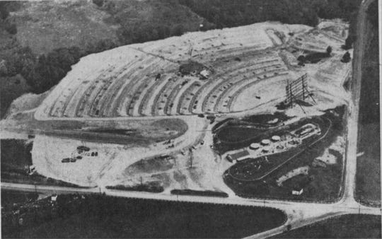 An overview of the construction of the Airport Drive-In next to Kiddieland in 1961.