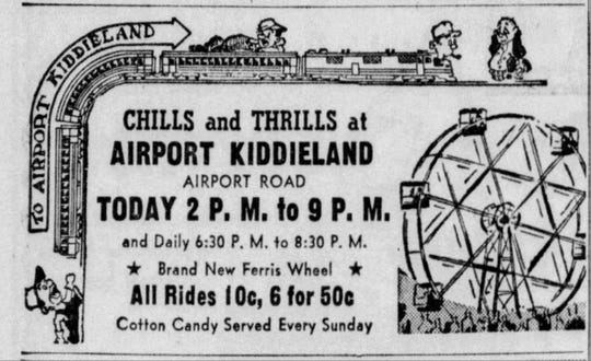 A typical ad for Airport Kiddieland, about 1966.