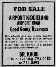 The sale ad for the Airport Kiddieland business in 1970.
