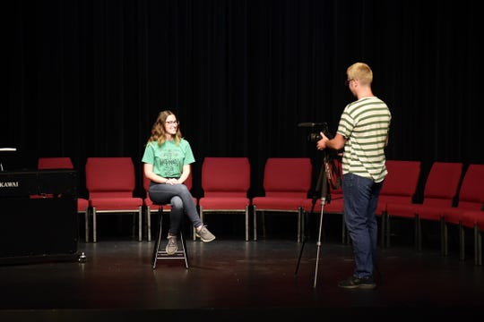 """In front of an empty house, Beth Anne Jarvis and Rowan Kempf rehearse for the Galion Community Theatre's """"Fill The Seats"""" fundraising campaign."""