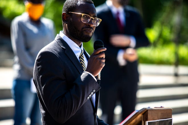 IA Rep. Ras Smith, D-Waterloo, speaks to the press during a news conference announcing a proposal from Democratic law makers to address police misconduct on Thursday, June 4, 2020, outside of the Iowa State Capitol in Des Moines.