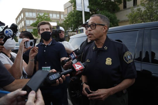 Chief James Craig speaks about the protest on Jefferson Avenue as he monitors the protest on Wednesday, June 3, 2020.