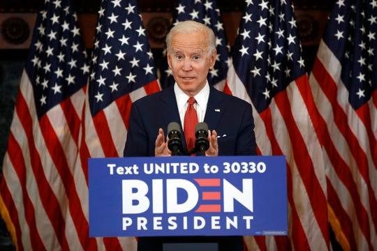 In this June 2, 2020, photo, Democratic presidential candidate, former Vice President Joe Biden speaks in Philadelphia.