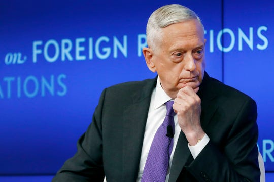 In this Sept. 3, 2019, file photo former U.S. Secretary of Defense Jim Mattis listens to a question during his appearance at the Council on Foreign Relations in New York.