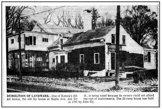 Right before the Sly home's demolition, pictured on the Elmira Star-Gazette on Nov. 6, 1961.