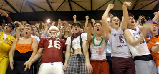 Henderson County students fans react during the fourth quarter of the 2006 Second Region championship game at Madisonville-North Hopkins High School.