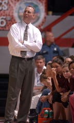 Henderson County Lady Colonels head coach Jeff Haile reacts to a call during the 2006 state tournament game against Elizabethtown in Bowling Green.