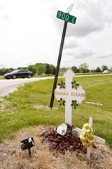 A memorial for Tamara Hough, who was killed in a crash in April of 2019, is placed at the intersection of Indiana 26 and Tippecanoe County Road 900 East, Thursday, June 4, 2020 in Lafayette.